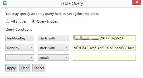 Azure storage explorer query