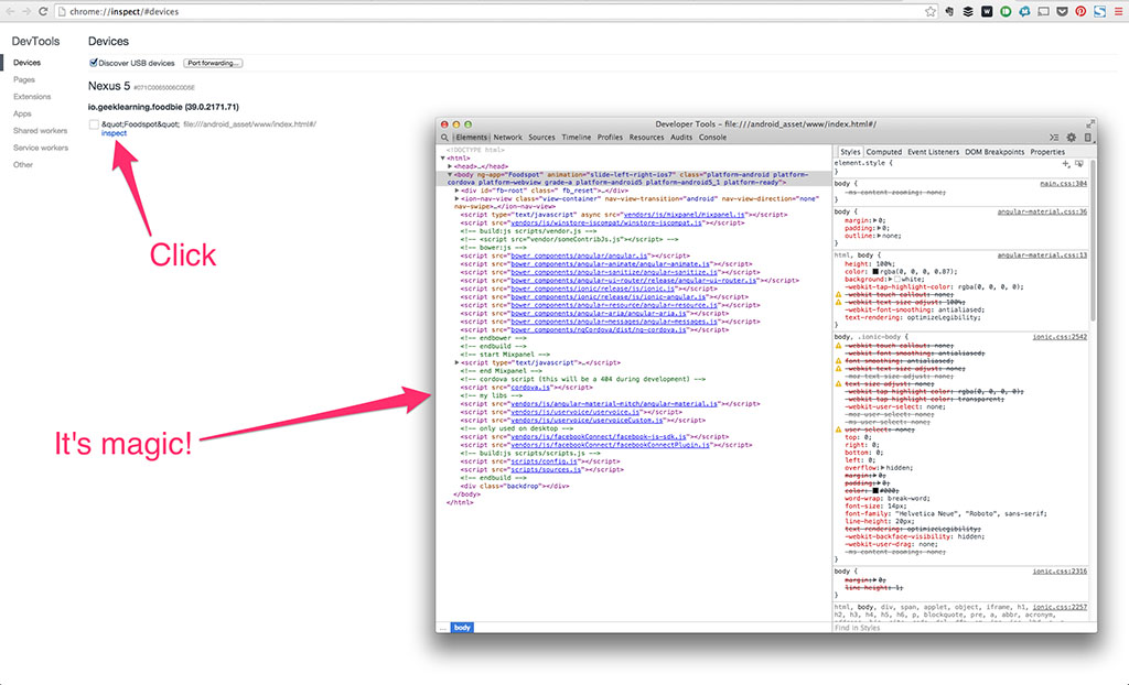 Inspect Code Screen