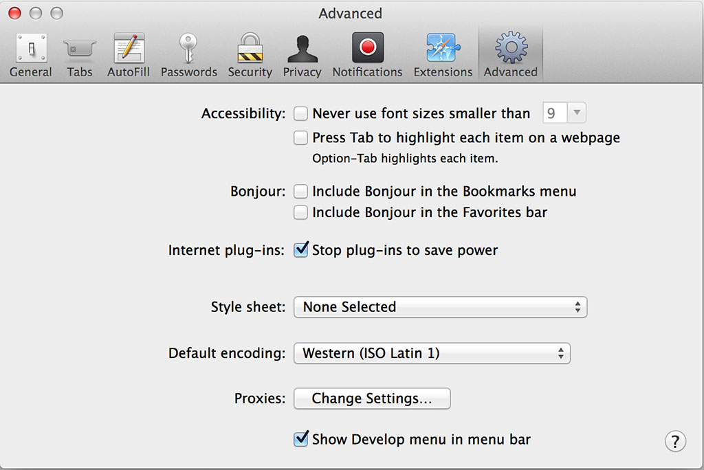 Safari Develop Menu Screen