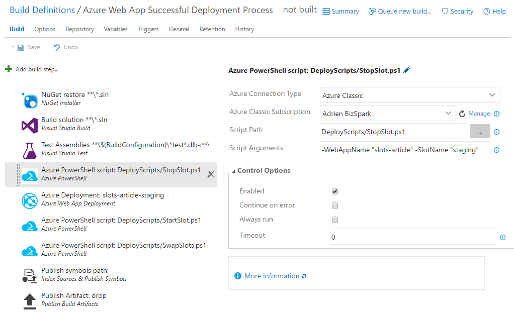 A successful Azure Web App deployment process